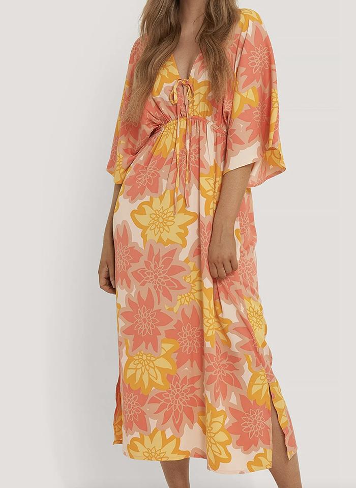 Lang strandkjole med 70'er print
