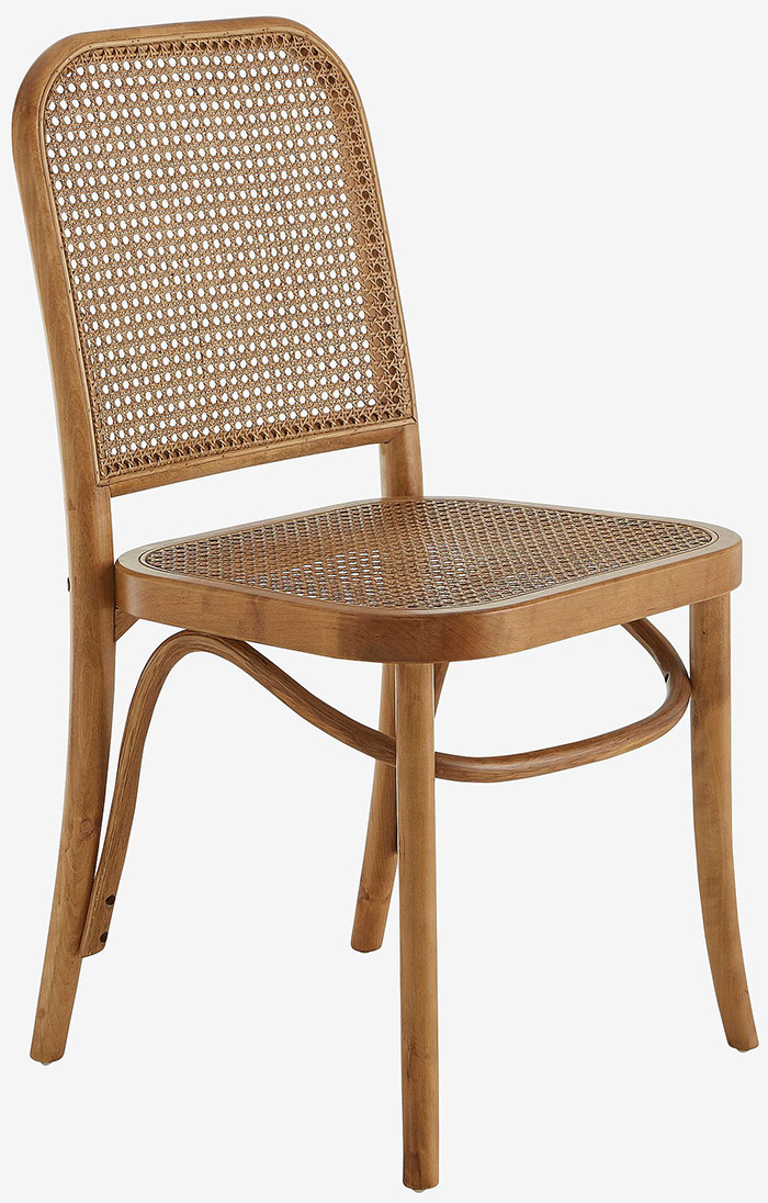 Flotte spisebordsstole i træ og rattan