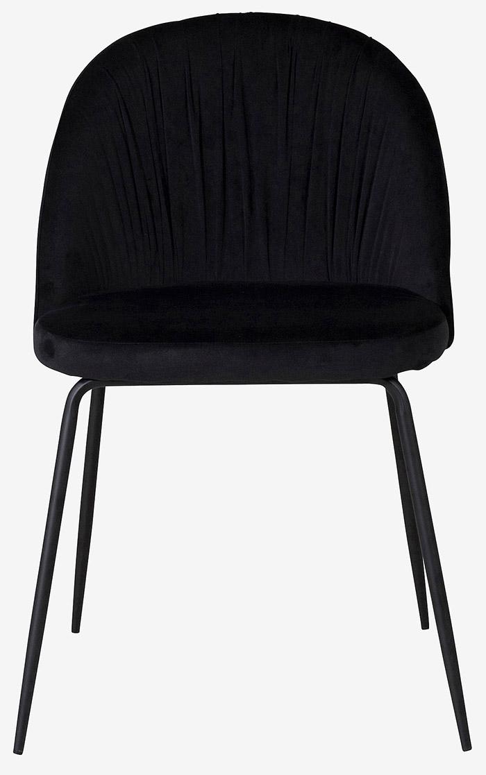 Spisebordsstole i sort feminin velour