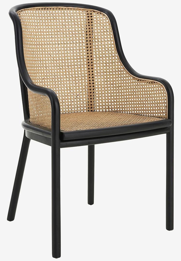 Smuk sort spisebordsstol med armlæn og rattan