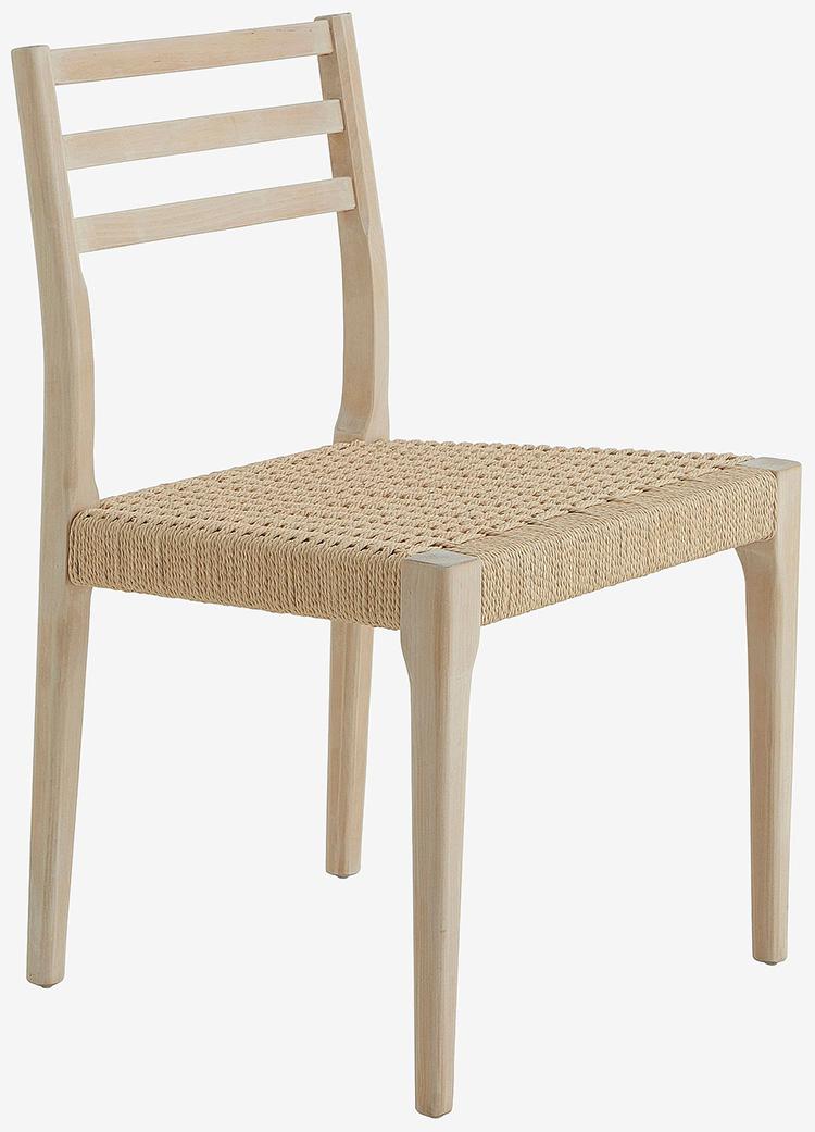 Smukke spisebordstole i træ og naturligt flet