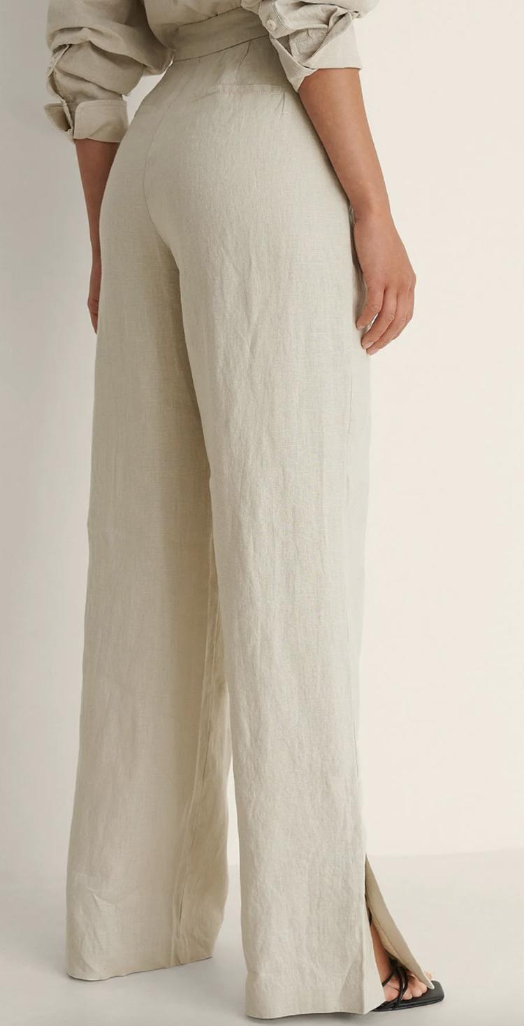 Højtaljede bukser med brede ben og slids kimono