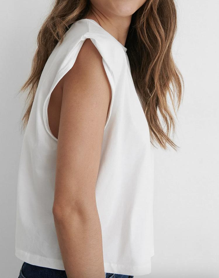 Kort hvid t-shirt til kimonno