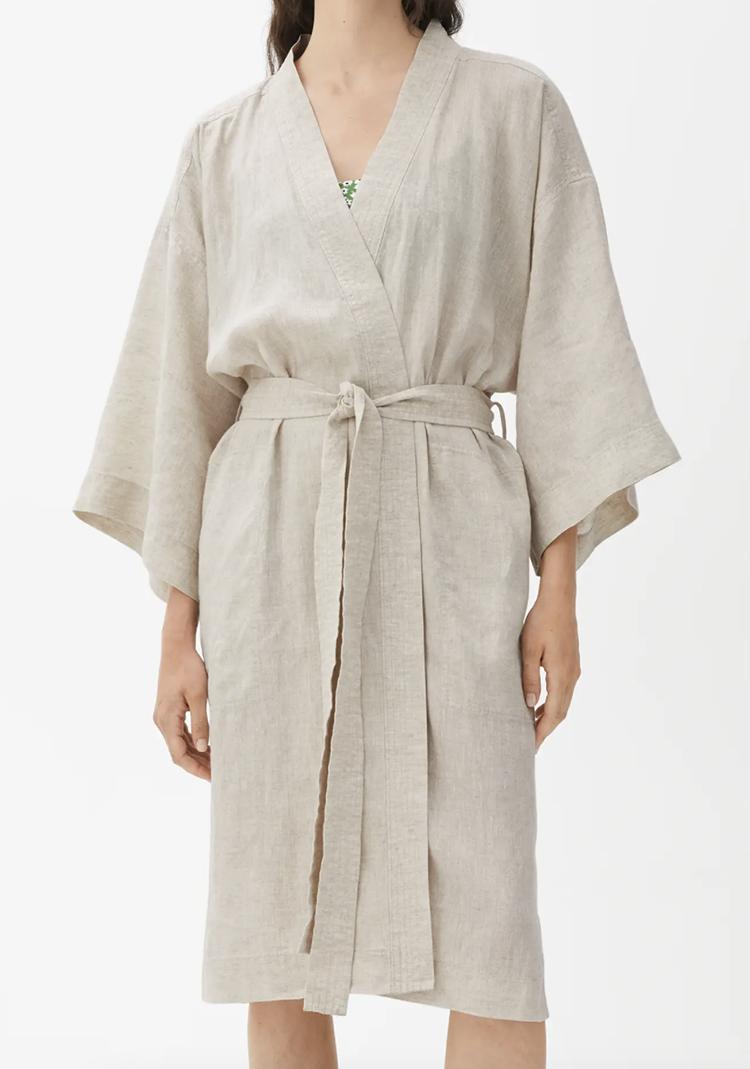 Kvalitetspræget kimono i hør