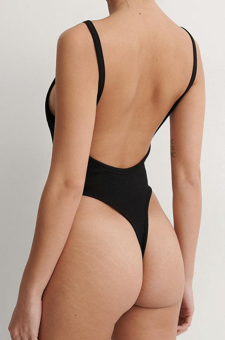 Simpel sort bodystocking med dyb ryg bodystockings kvinder