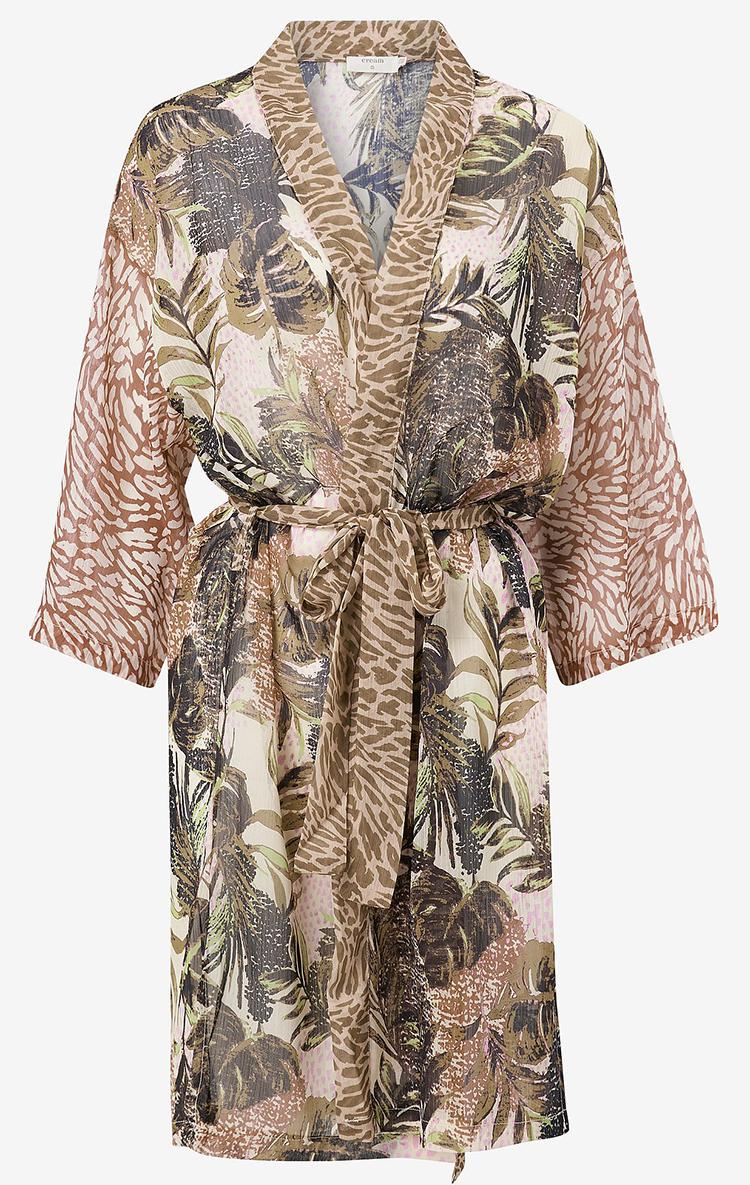 Smuk kimono i jordfarver