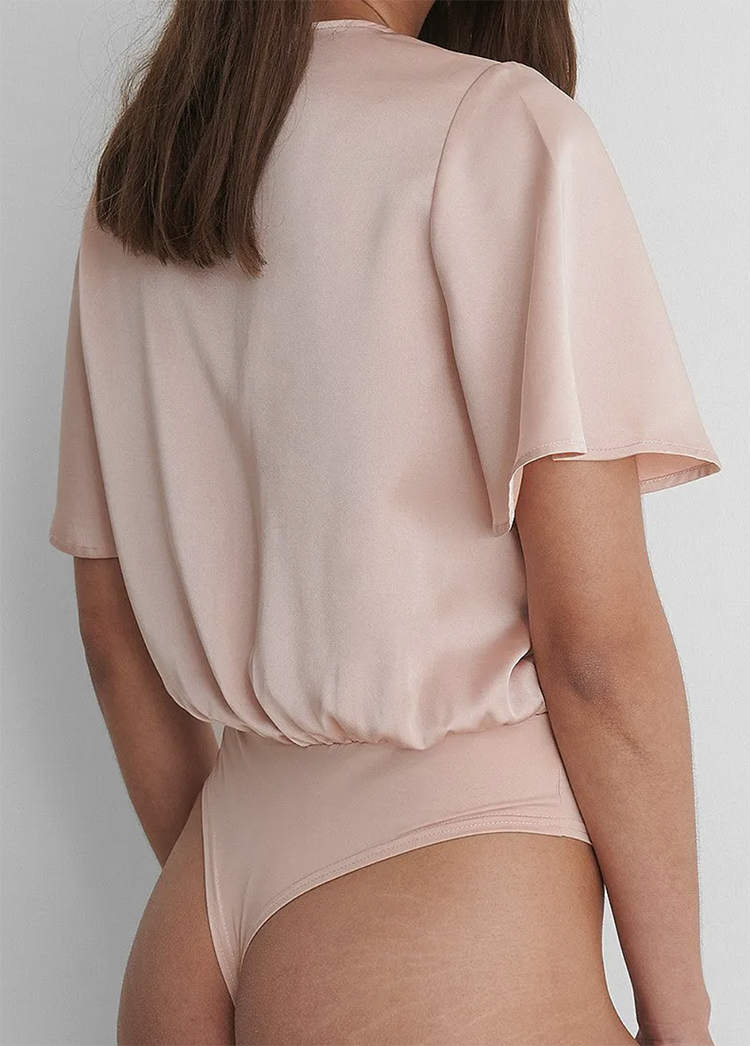 Smuk rosa silke bodystocking til kvinder
