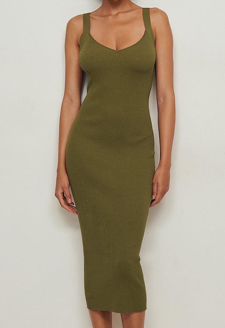 Billig kjole i behageligt grønt sto