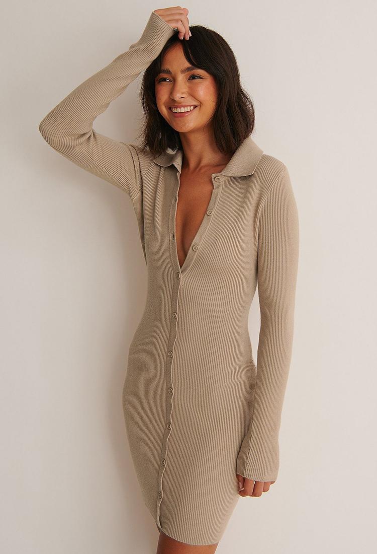 Billige langærmet kjole i afslappet design