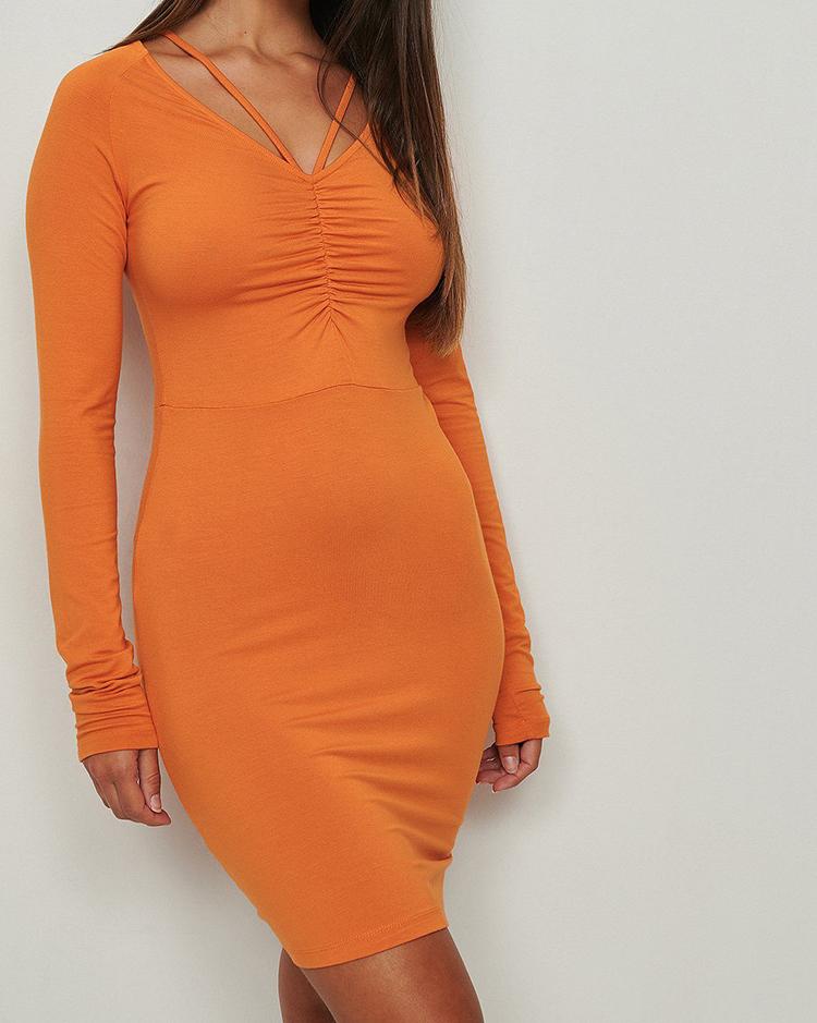 Fin orange jersey kjole med lange ærmer