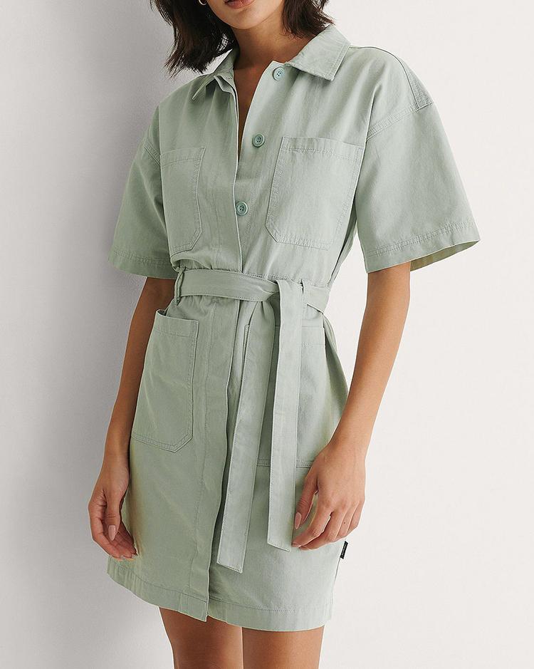 Mintgrøn denim kjole med taljebælte