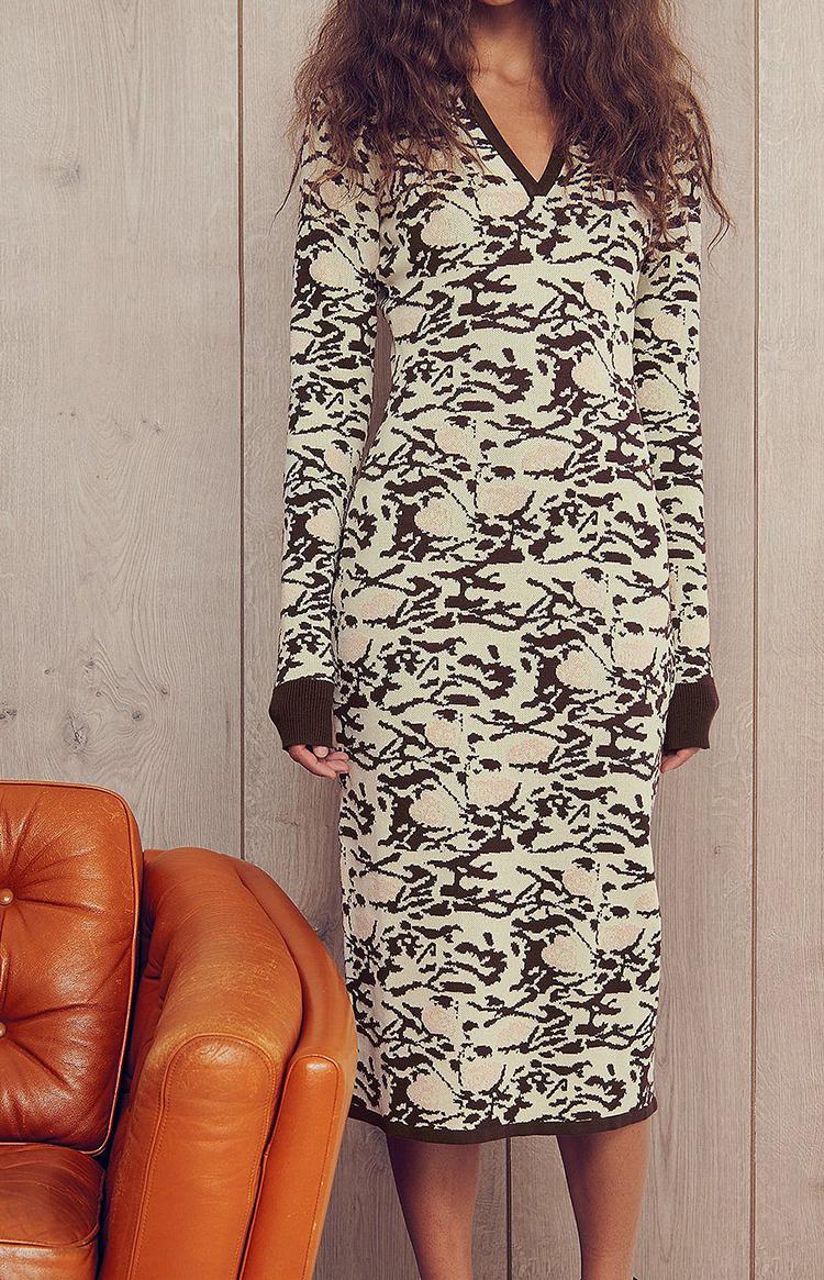 Mønstret langærmet kjole i strik