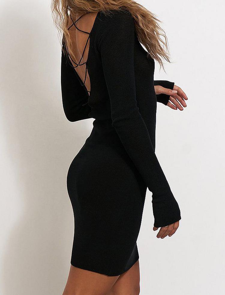 Sort billige cocktail kjole i finstrik