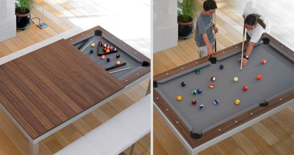 Spisebord med integreret poolbord