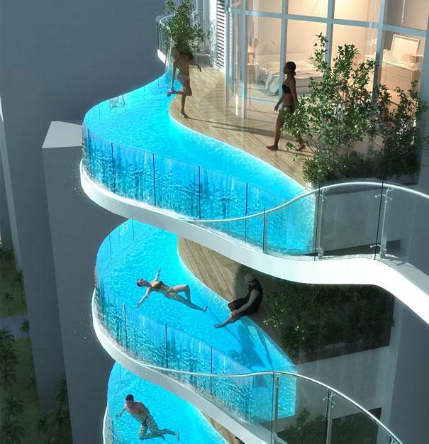Balkon med swimming pool
