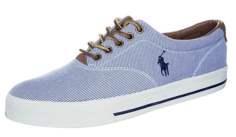 Blå sneakers med brun lædertouch