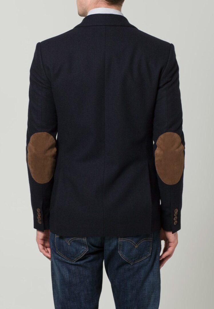 mørkeblå blazer med brune lapper