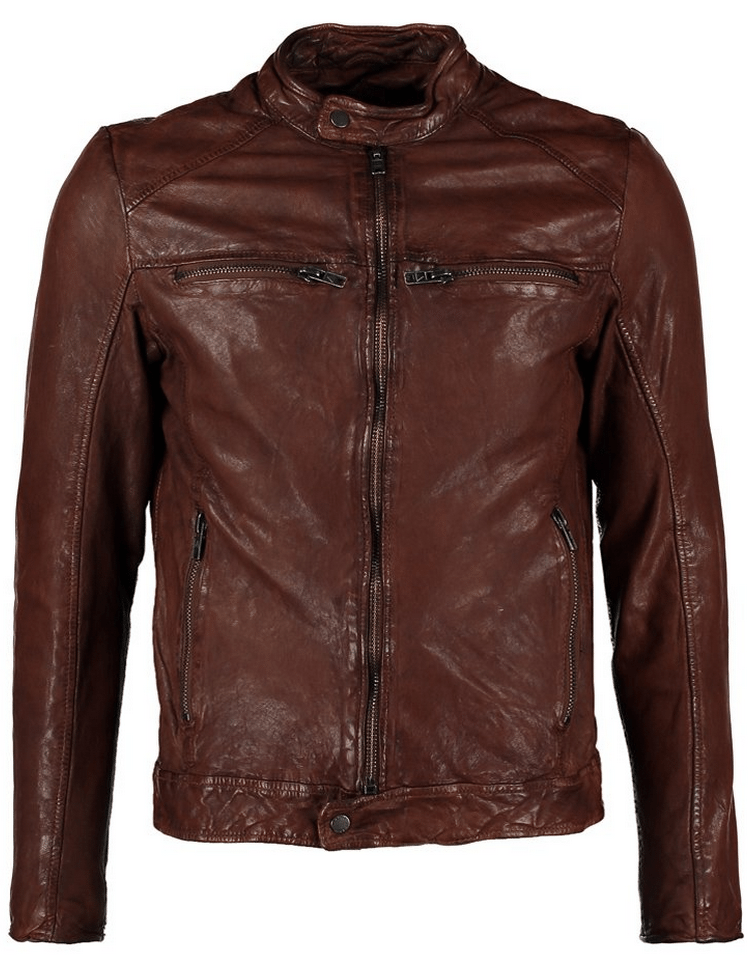 mørkebrun læderjakke be edgy