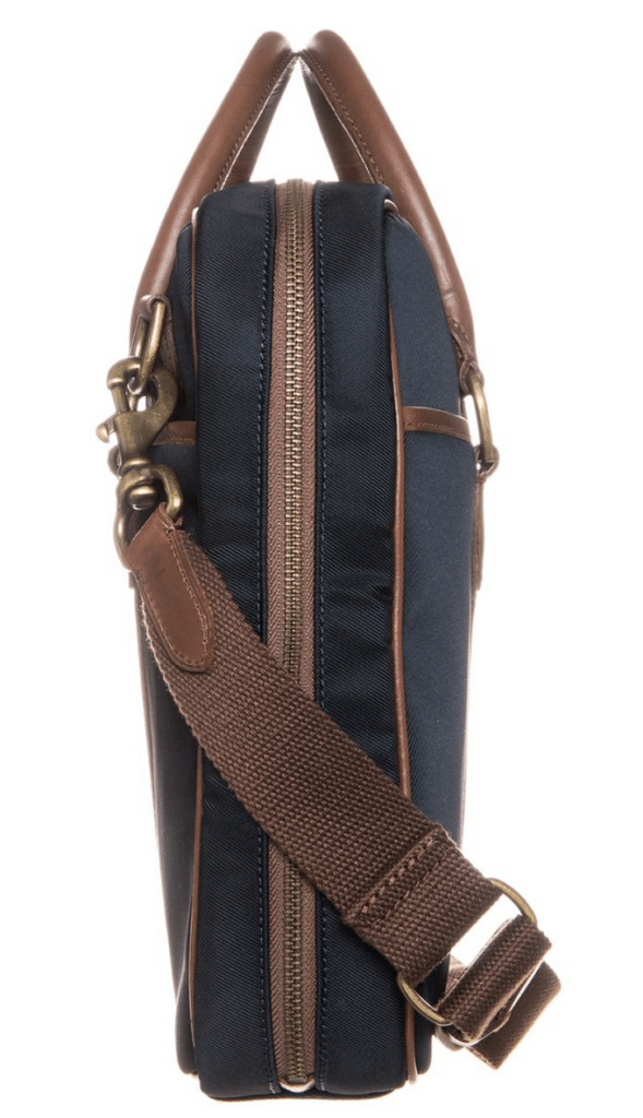 blå computertaske med læderstropper ralph lauren
