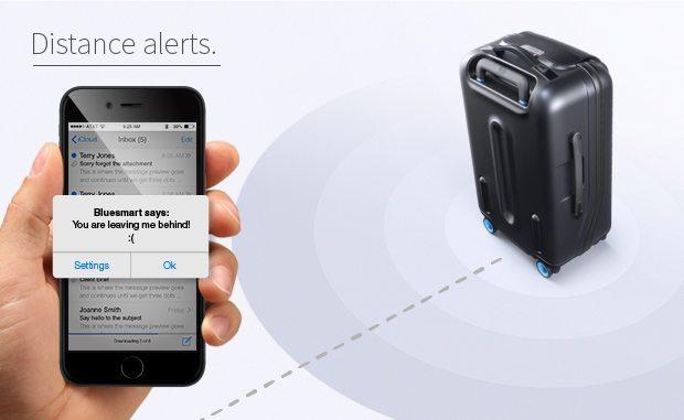 bluesmart kabinekuffert smartphone afstand