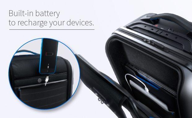 bluesmart kabinekuffert smartphone batteri