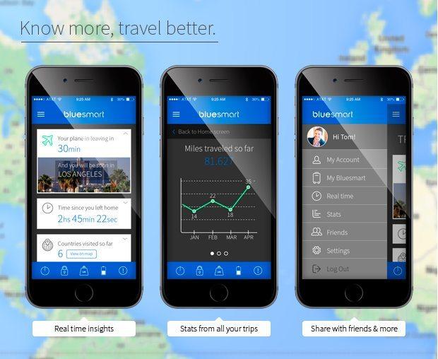 bluesmart kabinekuffert smartphone data fra rejser