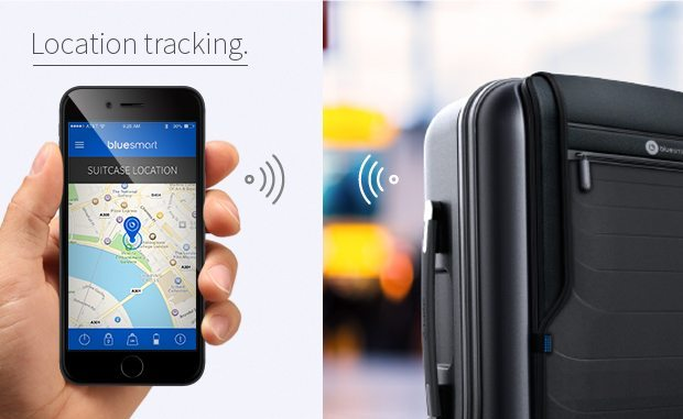 bluesmart kabinekuffert smartphone gps tracking