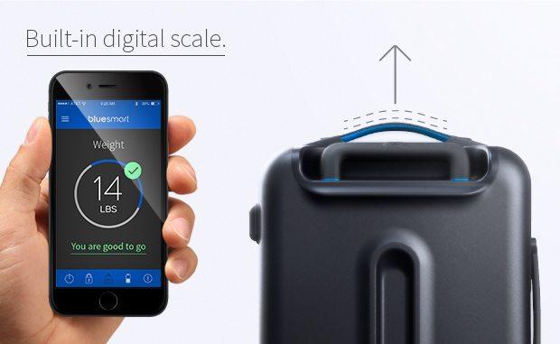 bluesmart kabinekuffert smartphone indbygget vægt