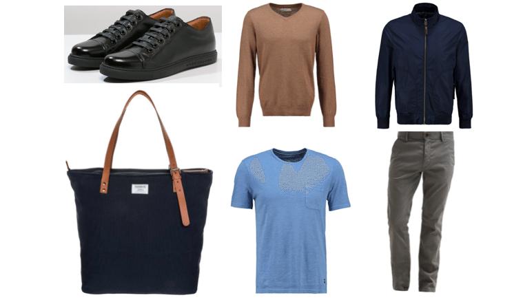 grå chinos sorte sneakers blå jakke