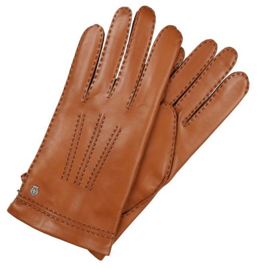 brune læderhandsker med for af kashmir