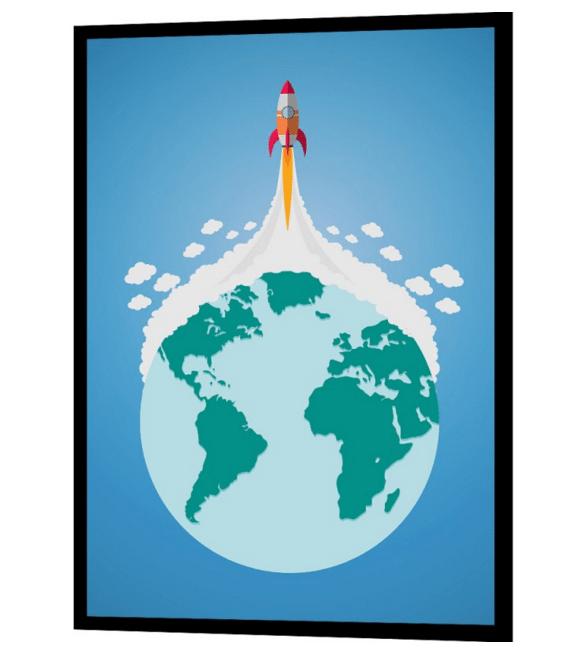 flot retro plakat med raketskib og jorden