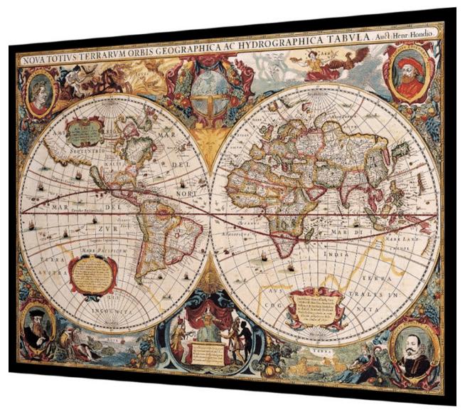 plakat med flot vintage verdenskort