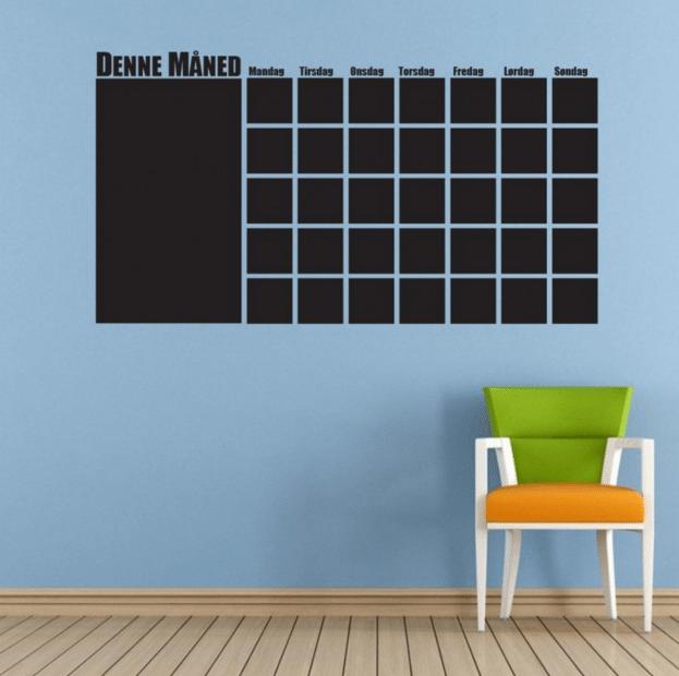 sort wallsticker kalender med liste