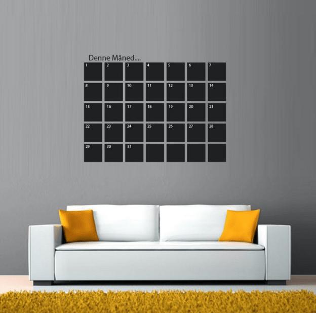 sort wallsticker kalender