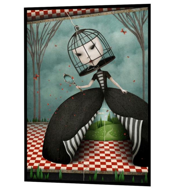 surrealistisk plakat med pigen i buret