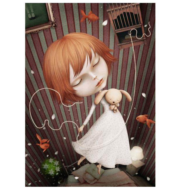 surrealistisk platkat med pigen og drømmefangeren