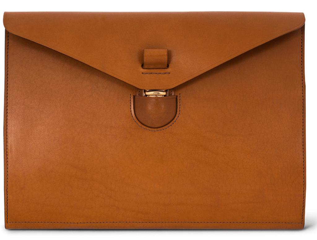 eksklusiv cognacbrun mappe laptoppen