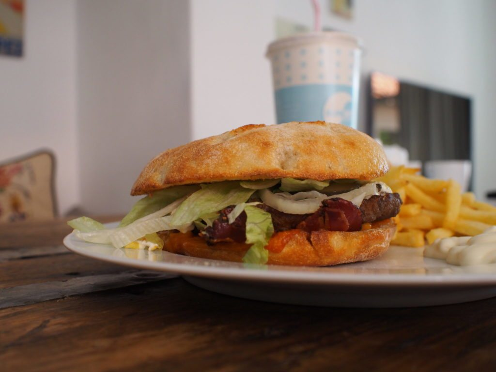 gourmet burger fast food sunset