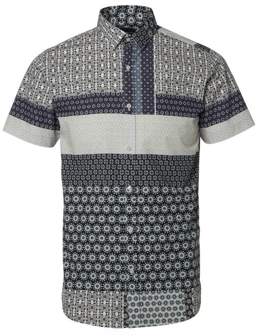 unik kortærmet herreskjorte med blåt print